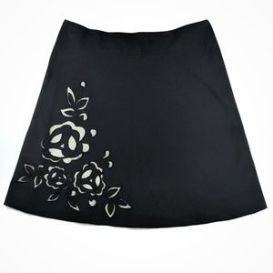 Express Black Cutout Embroidered Floral Skirt 12